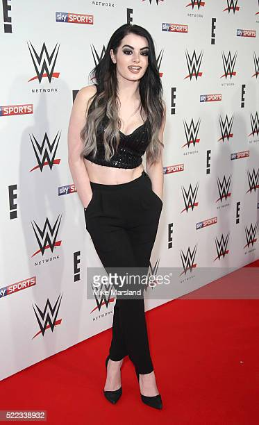 Paige aka SarayaJade Bevis arrives for WWE RAW at 02 Brooklyn Bowl on April 18 2016 in London England