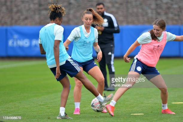 Paige Bailey Gayle of Leicester City Women, Hannah Cain of Leicester City Women and Shannon O'Brien of Leicester City Women during the Leicester City...