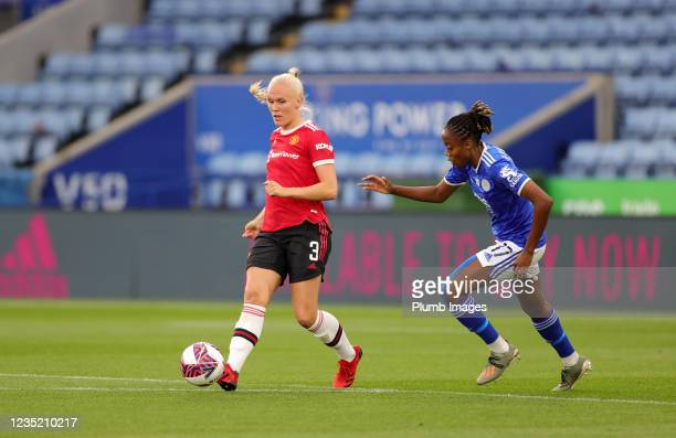 Paige Bailey Gayle of Leicester City Women in action with Aofie Mannion of Manchester United Women during the Barclays FA Women's Super League match...