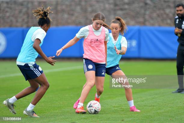 Paige Bailey Gayle of Leicester City Women Shannon O'Brien of Leicester City Women and Hannah Cain of Leicester City Women during a Leicester City...