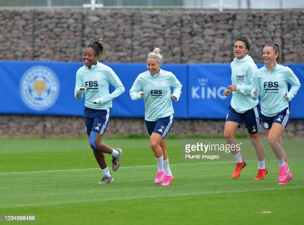 Paige Bailey Gayle of Leicester City Women, Sophie Barker of Leicester City Women, Jess Sigsworth of Leicester City Women and Hannah Cain of...