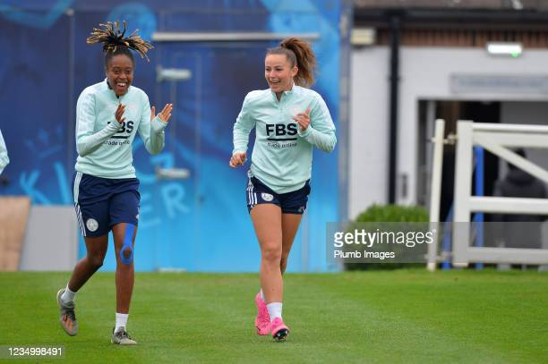 Paige Bailey Gayle of Leicester City Women with Hannah Cain of Leicester City Women during a Leicester City Women training session at Belvoir Drive...