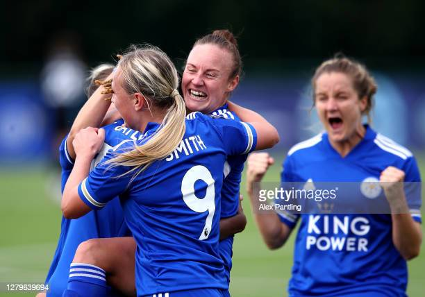Paige Bailey-Gayle of Leicester City celebrates scoring her sides first goal with team mate Remi Allen during the Barclays FA Women's Championship...