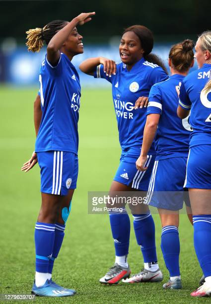 Paige Bailey-Gayle of Leicester City celebrates scoring her sides first goal during the Barclays FA Women's Championship match between Leicester City...