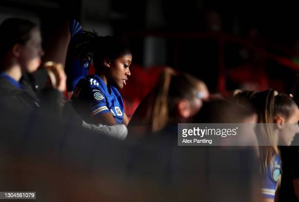Paige Bailey-Gayle of Leicester City watches on from the bench during the Barclays FA Women's Championship match between Leicester City Women and...