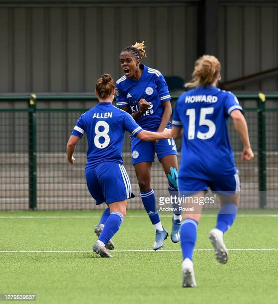 Paige Bailey-Gayle of Leicester City W.F.C. Celebrates after scoring the opening goal during the Barclays FA Women's Championship match between...