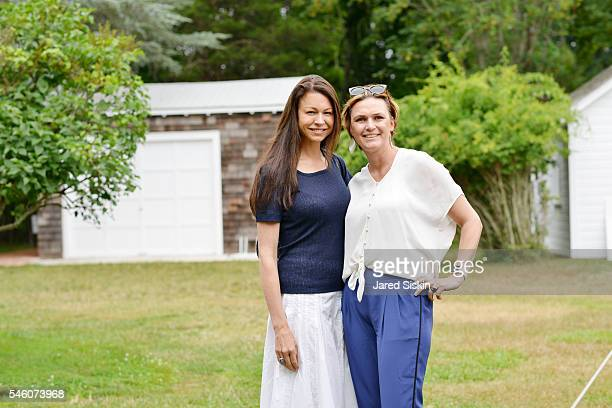 Paige Boller Malik and Victoria Gore attend the Royal Academy America Summer Brunch at the PollockKrasner House on July 10 2016 in East Hampton New...