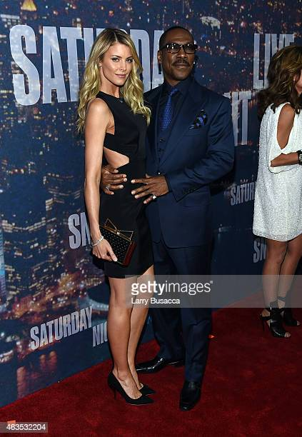 Paige Butcher and Eddie Murphy attend SNL 40th Anniversary Celebration at Rockefeller Plaza on February 15 2015 in New York City