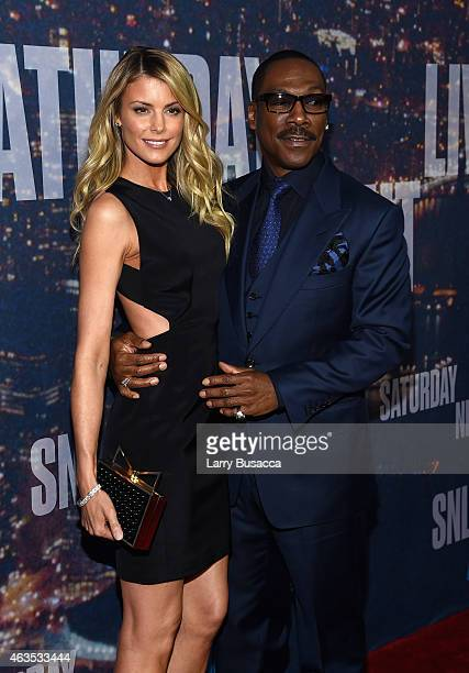 Paige Butcher and Eddie Murphy attend SNL 40th Anniversary Celebration at Rockefeller Plaza on February 15, 2015 in New York City.