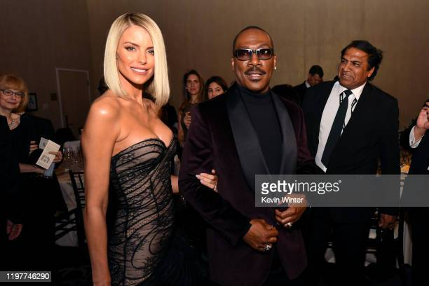 Paige Butcher and Eddie Murphy attend the 77th Annual Golden Globe Awards Cocktail Reception at The Beverly Hilton Hotel on January 05, 2020 in...