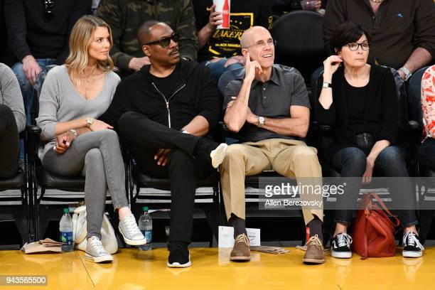 Paige Butcher Eddie Murphy Jeffrey Katzenberg and Marilyn Katzenberg attend a basketball game between the Los Angeles Lakers and the Utah Jazz at...
