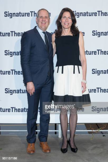 Paige Evans and Harold Wolpert attend the Signature Theatre 2018 Gala at Signature Theatre Company's The Pershing Square Signature Center on March 12...