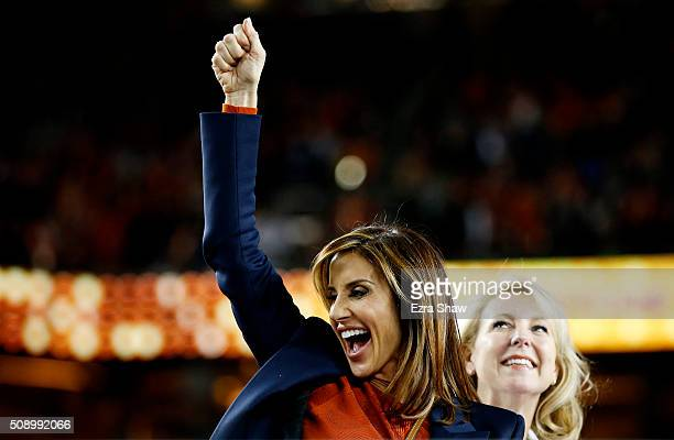 Paige Green wife of Denver Broncos general manager John Elway celebrates after defeating the Carolina Panthers during Super Bowl 50 at Levi's Stadium...