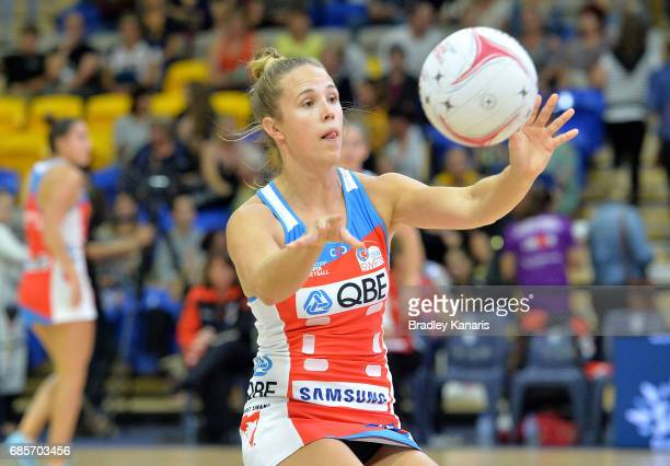 Paige Hadley of the Swifts passes the ball during the round 13 Super Netball match between the Lightning and the Swifts at University of the Sunshine...