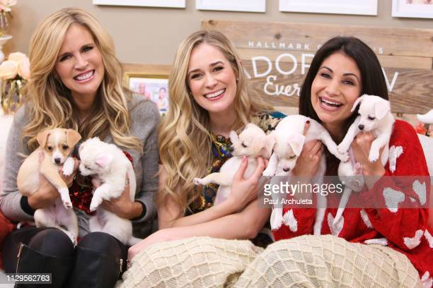 Paige Hemmis Brittany Bristow and Larissa Wohl on the set of Hallmark's Home Family at Universal Studios Hollywood on February 13 2019 in Universal...