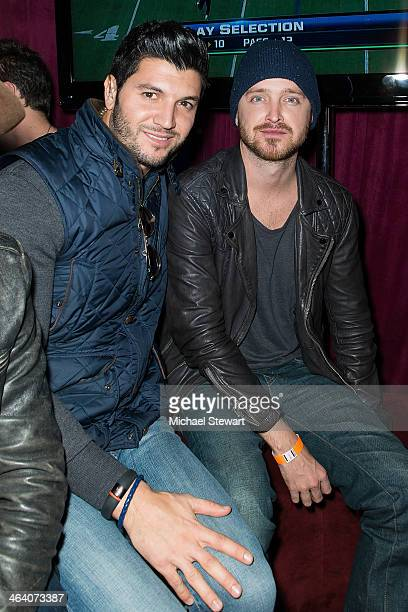 Paige Hospitality Group director Brian Mazza and actor Aaron Paul attend Paige Hospitality Group's Third Annual Sundance Football Game Watch on...