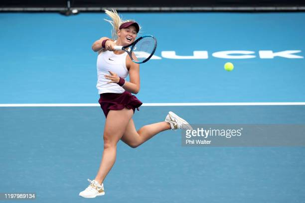 Paige Hourigan of New Zealand plays a forehand during her first round match against Caroline Wozniacki of Denmark during day two of the 2020 ASB...