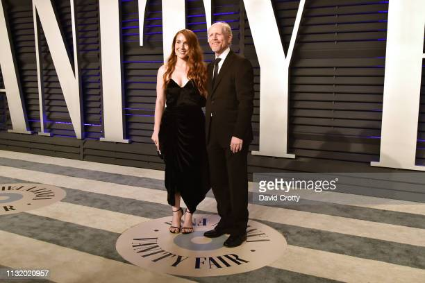Paige Howard and Ron Howard attend the 2019 Vanity Fair Oscar Party at Wallis Annenberg Center for the Performing Arts on February 24 2019 in Beverly...