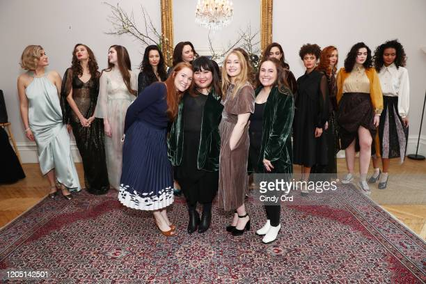 Paige Howard Jasmine Chong Kate Robards and Nik Aliye pose with models after the Jasmine Chong runway show during New York Fashion Week on February...
