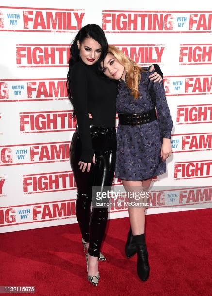 """Paige Knight and Florence Pugh attend the UK Premiere of """"Fighting With My Family"""" at BFI Southbank on February 25, 2019 in London, England."""
