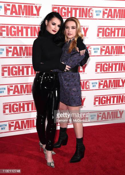 Paige Knight and Florence Pugh attends the UK Premiere of Fighting With My Family at BFI Southbank on February 25 2019 in London England