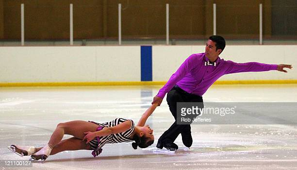 Paige Lawrence and Rudi Sweigers of Canada compete in the The Figure Skating Gala during day two of the Winter Games NZ at Dunedin Ice Stadium on...