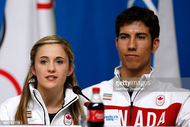 Paige Lawrence and Rudi Swiegers attend a Canada Figure Skating pairs press conference ahead of the Sochi 2014 Winter Olympics at the Main Press...