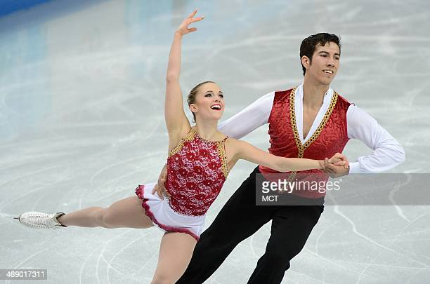 Paige Lawrence and Rudi Swiegers of Canada compete in the pairs free skate during the Winter Olympics at the Iceberg Skating Palace in Sochi Russia...