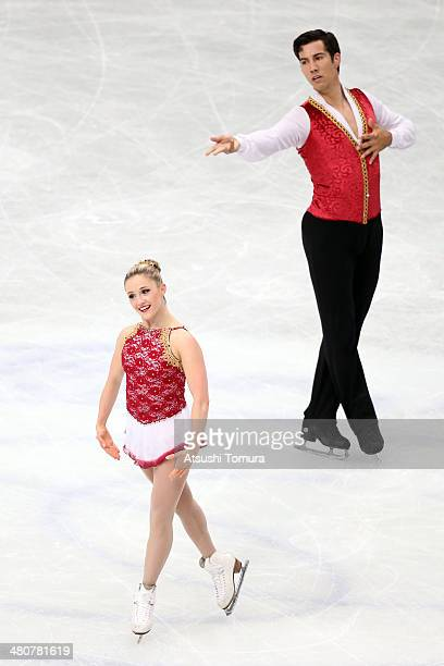 Paige Lawrence and Rudi Swiegers of Canada compete in the Pairs Free Program during ISU World Figure Skating Championships at Saitama Super Arena on...