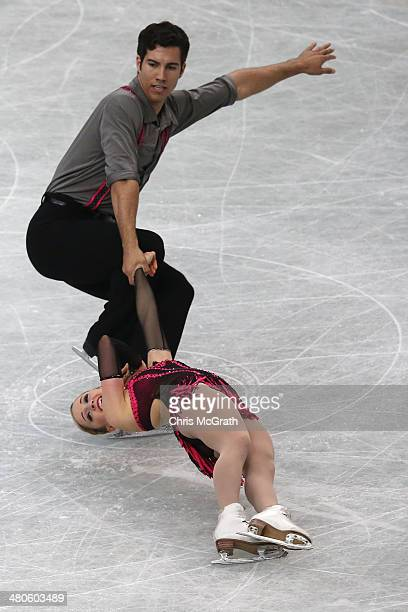 Paige Lawrence and Rudi Swiegers of Canada compete in the Pairs Short Program during ISU World Figure Skating Championships at Saitama Super Arena on...