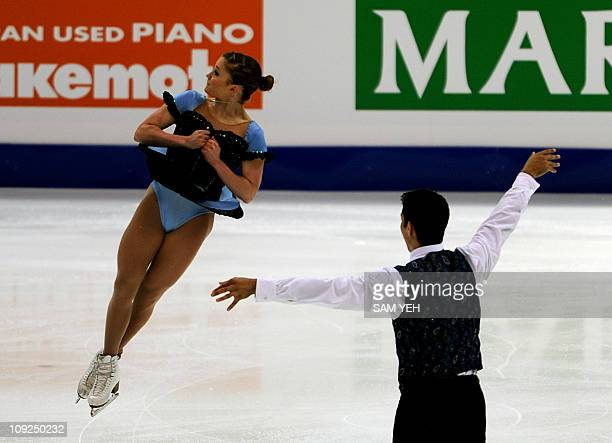 Paige Lawrence and Rudi Swiegers of Canada perform in the pairs short program during the International Skating Union Four Continents Figure Skating...