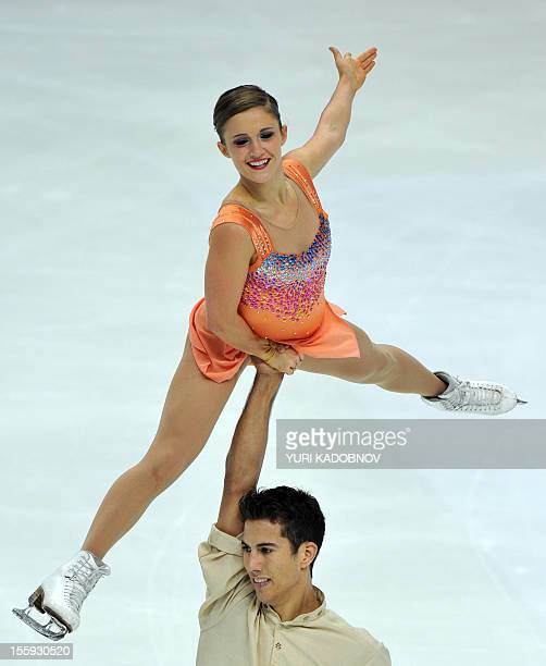 Paige Lawrence and Rudi Swiegers of Canada perform on November 9 2012 during their pairs short program of the Russia's Cup the fourth leg of ISU...