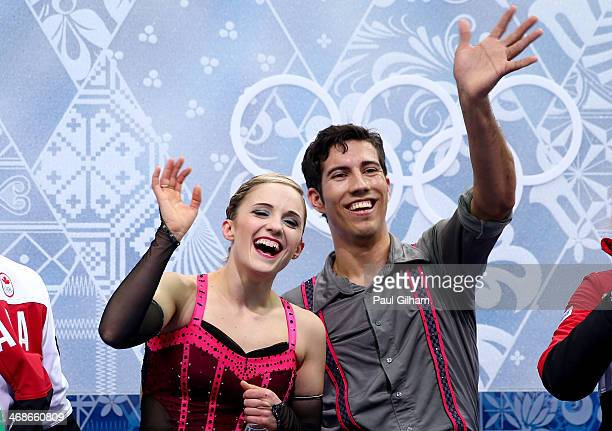 Paige Lawrence and Rudi Swiegers of Canada react after they compete during the Figure Skating Pairs Short Program on day four of the Sochi 2014...