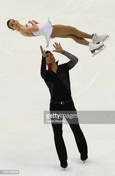 Paige Lawrence and Rudi Swiegers of Canada skate in the Pairs Free Skating during day two of the Four Continents Figure Skating Championships at...
