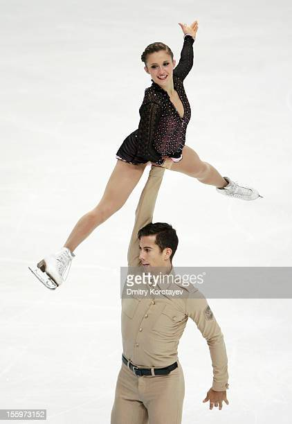 Paige Lawrence and Rudi Swiegers of Canada skate in the Pairs Free Skating during ISU Rostelecom Cup of Figure Skating 2012 at the Megasport Sports...