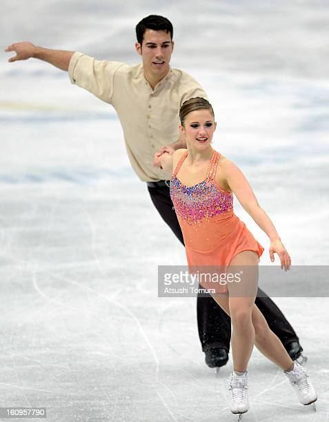 Paige Lawrence and Rudi Swiegers of Canada skate in the Pairs Short Program during day one of the ISU Four Continents Figure Skating Championships at...