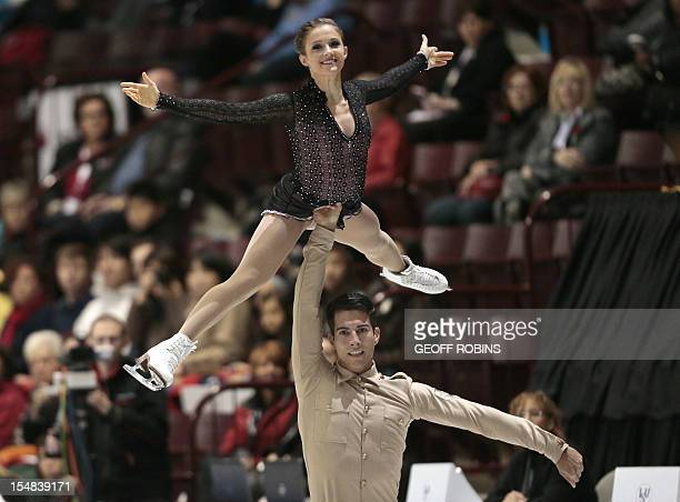 Paige Lawrence and Rudi Swiegers of Canada skate their free program at the 2012 Skate Canada International ISU Grand Prix event in Windsor on October...