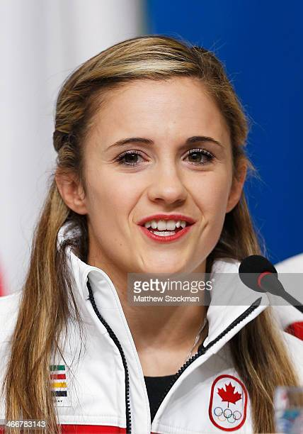 Paige Lawrence attends a Canada Figure Skating pairs press conference ahead of the Sochi 2014 Winter Olympics at the Main Press Centre on February 4...