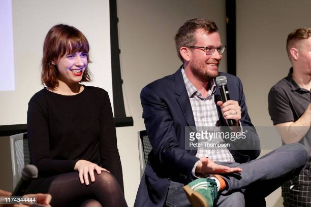 Paige Lewis and John Green take questions from the audience at the Poetry Foundation and Complexly launch of Ours Poetica on September 12 2019 in...