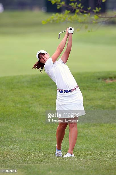 Paige Mackenzie hits an approach shot during the first round of the PG Beauty NW Arkansas Championship presented by John Q Hammons on July 4 2008 at...