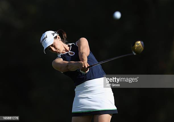 Paige Mackenzie hits her tee shot on the second hole during the third round of the Kraft Nabisco Championship at Mission Hills Country Club on April...