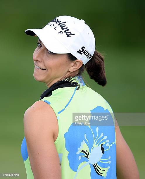 Paige Mackenzie jokes on the third green during round one of the Manulife Financial LPGA Classic at the Grey Silo Golf Course on July 11 2013 in...