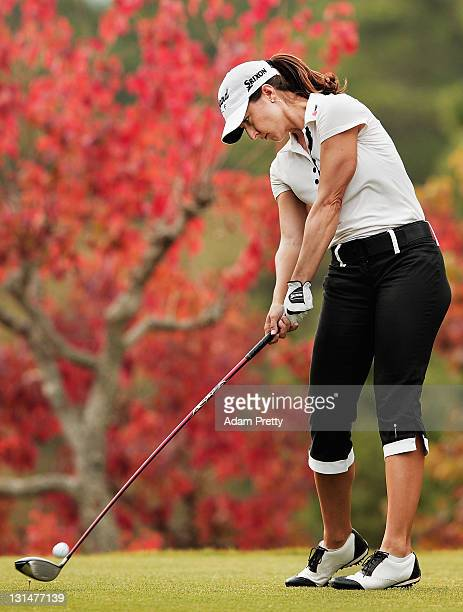 Paige Mackenzie of the USA tees off during the second round of the Mizuno Classic at Kintetsu Kashikojima Country Club on November 5 2011 in Shima...