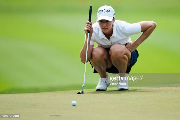 Paige Mackenzie of USA lines up a putt on the 17th green during day two of the LPGA Thailand at Siam Country Club on February 17 2012 in Chon Buri...