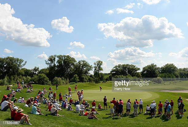 Paige Mackenzie putts on the third green during round two of the Manulife Financial LPGA Classic at the Grey Silo Golf Course on July 12 2013 in...