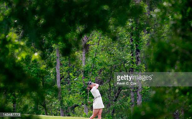Paige Mackenzie tees off the fourth hole during the second round of the Mobile Bay LPGA Classic at the Crossings Course at the Robert Trent Jones...