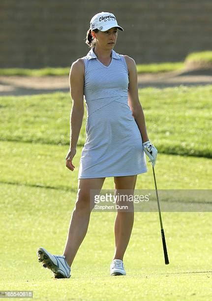 Paige Mackenzie watches her second shot on the 15th hole during the first round of the Kraft Nabisco Championship at Mission Hills Country Club on...