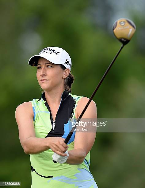 Paige Mackenzie watches her tee shot on the fourth tee during round one of the Manulife Financial LPGA Classic at the Grey Silo Golf Course on July...