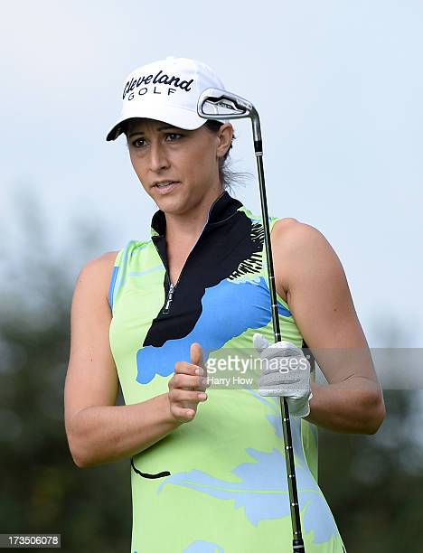 Paige Mackenzie watches her tee shot on the third hole during round one of the Manulife Financial LPGA Classic at the Grey Silo Golf Course on July...