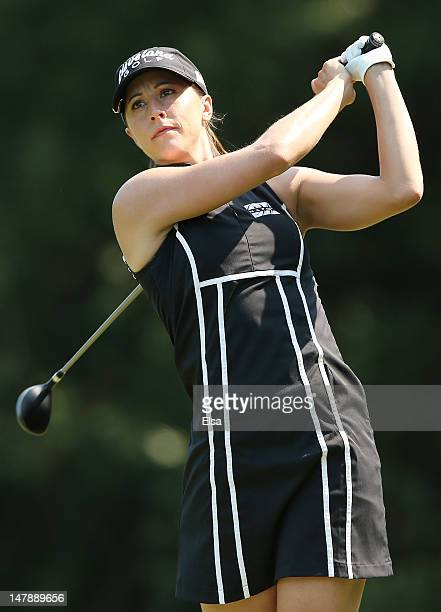 Paige Mackenzie watfches her shot from the 9th tee during the first round of the 2012 US Women's Open on July 5 2012 at Blackwolf Run in Kohler...
